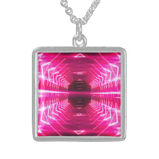 Modern Graphic Glowing Vortex, Pink - Sterling Silver Necklace
