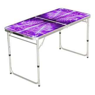 Modern Graphic Glowing Vortex, Purple - Beer Pong Table