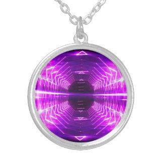 Modern Graphic Glowing Vortex, Purple - Silver Plated Necklace
