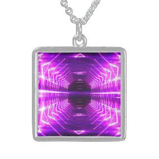 Modern Graphic Glowing Vortex, Purple - Sterling Silver Necklace