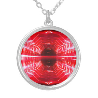 Modern Graphic Glowing Vortex, Red - Silver Plated Necklace