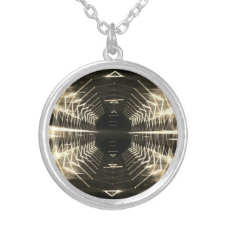 Modern Graphic Glowing Vortex, Sepia - Silver Plated Necklace