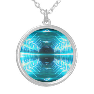 Modern Graphic Glowing Vortex, Teal - Silver Plated Necklace