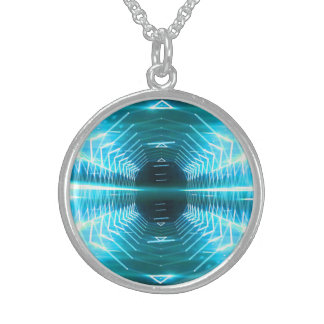 Modern Graphic Glowing Vortex, Teal - Sterling Silver Necklace