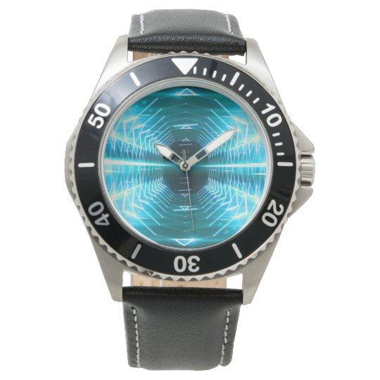 Modern Graphic Glowing Vortex, Teal - Watch