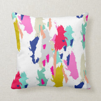 Modern Graphic Green Blue Pink Throw Pillow