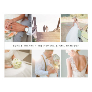 Modern Gratitude | Wedding Photo Collage Thank You Postcard