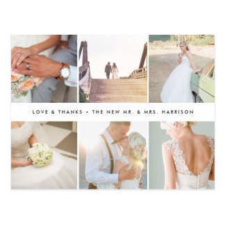 Modern Gratitude | Wedding Photo Collage Thank You Postcard