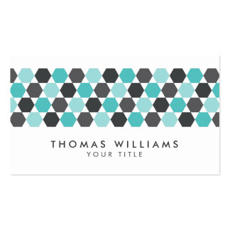 Modern gray and aqua blue hexagon border pack of standard business cards