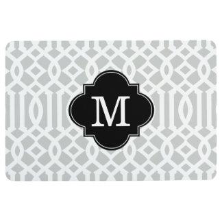 Modern Gray and Black Trellis Custom Monogram Floor Mat