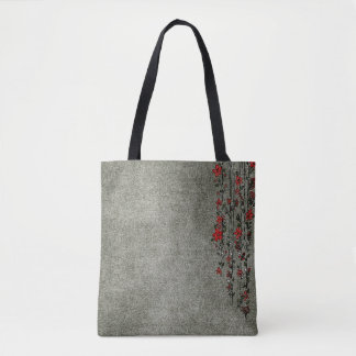 Modern Gray And Red Custom Tote Bag
