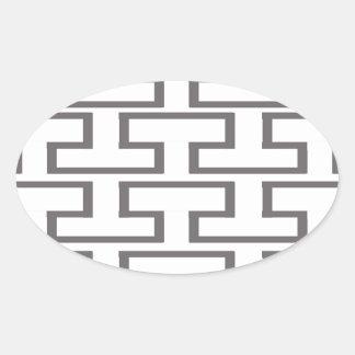 Modern Gray and White Bricks Oval Sticker