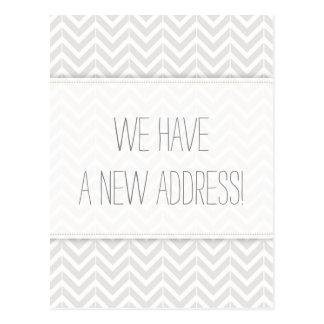 Modern Gray and White Chevron Change of Address Postcard