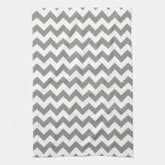 Modern Gray and White Chevron Zigzag Pattern Tea Towel