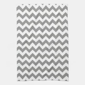 Modern Gray and White Chevron Zigzag Pattern Towel