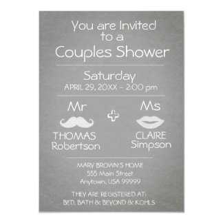 Modern Gray and White Couples Shower Card