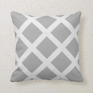 Modern Gray and White Criss Cross Stripes Pillow