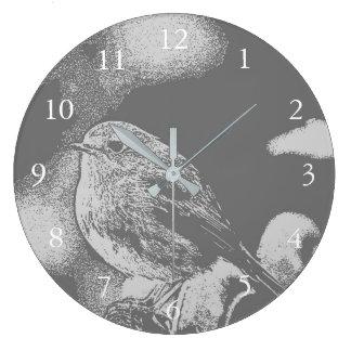 Modern gray and white Robin bird photo art Large Clock