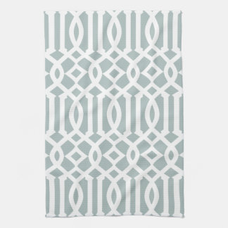 Modern Gray Blue and White Trellis Pattern Tea Towel