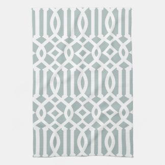 Modern Gray Blue and White Trellis Pattern Towel