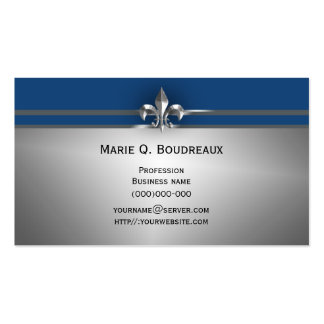 Modern Gray Blue Fleur de Lis Business Cards