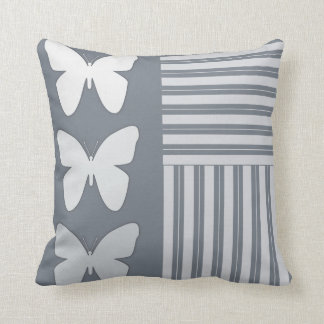 Modern Gray Butterfly Stripes Trendy Throw Pillow