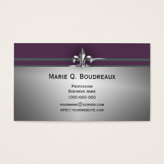 Modern Gray Eggplant Fleur de Lis Business Card
