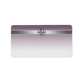 Modern Gray Eggplant Purple Silver Fleur de Lis Label
