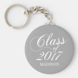 Modern Gray   Graduation Basic Round Button Key Ring