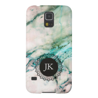 Modern Gray & Green Marble 2G Monogram Galaxy S5 Covers
