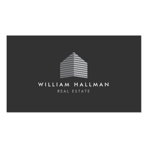 Modern Gray Home Builder Real Estate Business Card