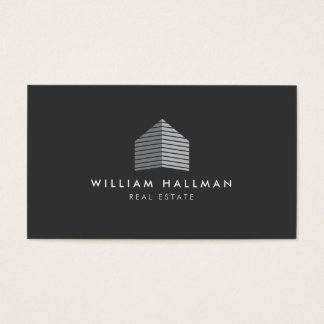 Modern Gray Home Builder Real Estate Business Card