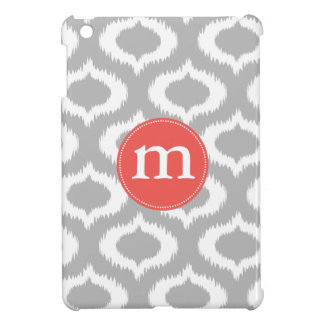 Modern Gray Ikat Diamonds Personalized iPad Mini Case