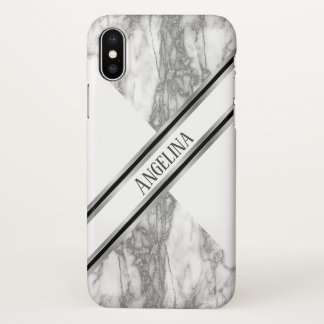 Modern Gray Marble Monogram iPhone X Case