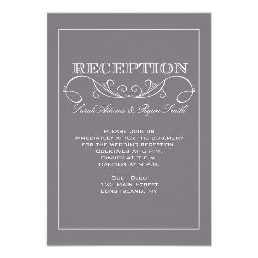 Modern Gray Reception Invitation