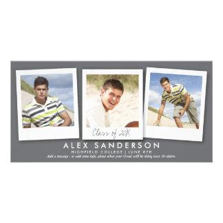 Modern Gray Triple Photo Graduation Announcement Customized Photo Card