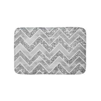Modern gray watercolor faux silver glitter chevron bath mat