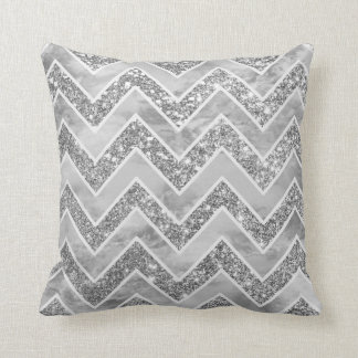 Modern gray watercolor faux silver glitter chevron cushion