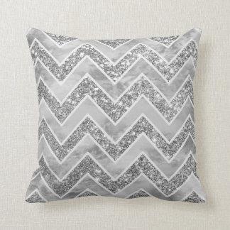 Modern gray watercolor faux silver glitter chevron cushion
