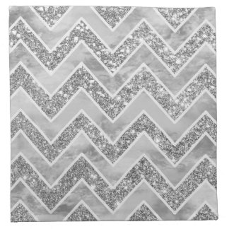 Modern gray watercolor faux silver glitter chevron napkin