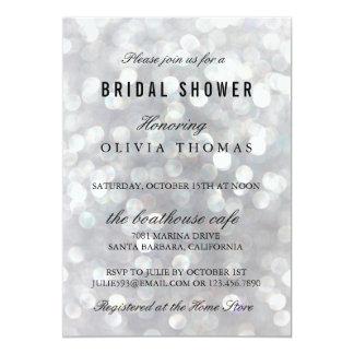 Modern Gray Wedding Bridal Shower Invitations Card
