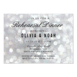Modern Gray Wedding Rehearsal Dinner Invitations