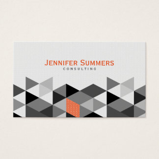 Modern Gray & White Geometric Triangles Pattern 2 Business Card