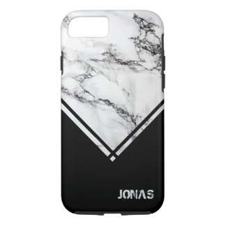 Modern Gray White Marble Stone Black Triangle iPhone 8/7 Case