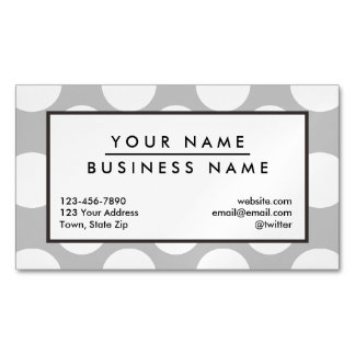 Modern Gray White Polka Dots Pattern Magnetic Business Cards