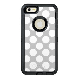 Modern Gray White Polka Dots Pattern OtterBox Defender iPhone Case