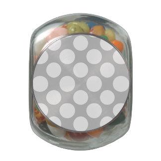 Modern Gray White Polka Dots Pattern Glass Jars