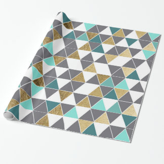 Modern Gray White Teal and Faux Gold Triangles Wrapping Paper