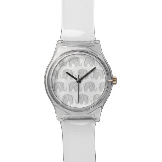 Modern gray white watercolor pastel cute elephant watches