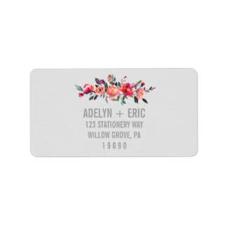 Modern Gray | Winter Flower Wedding Address Label